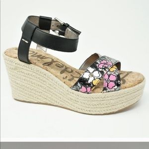 SAm Edelman leather floral espadrille